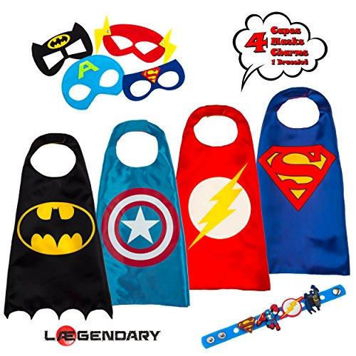 LAEGENDARY Costumi da supereroi per bambini - 4 Mantelli e Maschere - Logo di Capitan America Visibile al Buio - Giocattoli per Bambini e Bambine