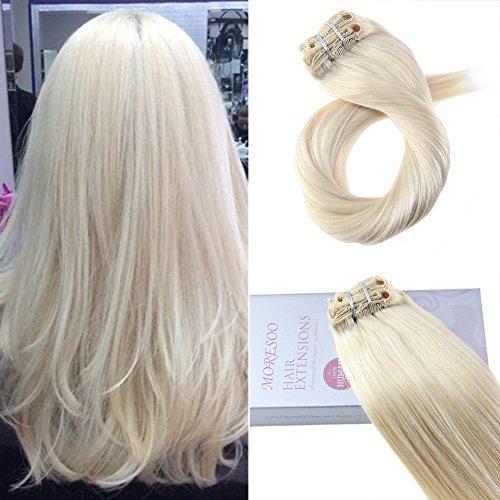 Moresoo 16pouces/40cm 120gram 7pcs Lisse Extension Cheveux Blond Platine/#60 Naturel Clip in Extension Vrai Cheveux Remy Meche Bresilienne Hair Tissage Clip
