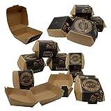 ToCis Big BBQ 24 Cajas para Hamburguesas, Bolsas para Patatas Fritas, Cuenco para Perritos Calientes de cartón, vajilla desechable, Embalaje de Comida rápida en diseño Vintage