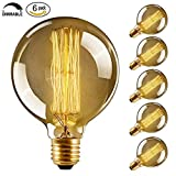 CMYK Antike Edison Vintage MasterGlobe Glühbirne (40W, E27, 220-240V) Ideal für Nostalgie und Retro Beleuchtung-- 6 Stück
