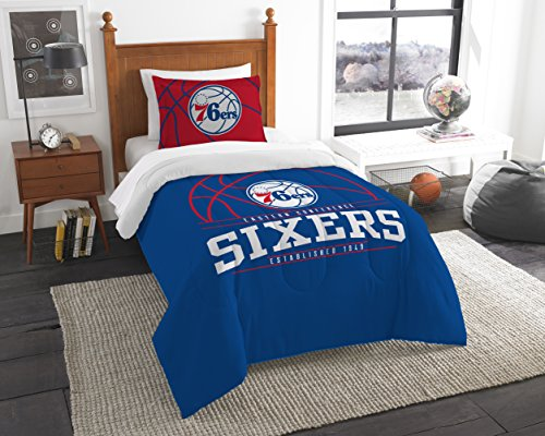 The Northwest Company Offiziell Lizenziertes NBA Philadelphia 76ers Reverse Slam Full/Queen Tröster und 2 Sham Set