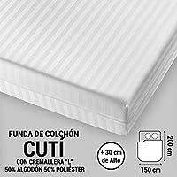 """ADP Home - Funda de colchón """"Cutí"""" con cremallera """"L"""", 150x200+30 cm (para cama de 150 cm), blanco"""