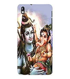 ColourCraft Lord Shiva With Ganesha Design Back Case Cover for HTC DESIRE 816