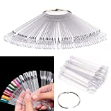 Ardisle 50 X Nail Art Tips Colour Sticks Display Fan Practice Starter Clear Polish Wheel