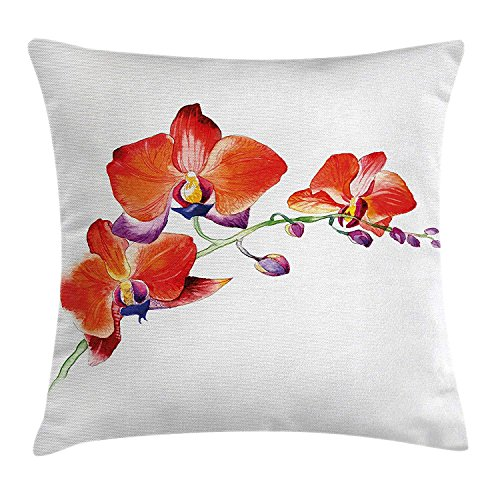 ZTLKFL Floral Throw Pillow Cushion Cover, Orchid Flower Branch with Vivid Color Petals Blossom Botany Blooms Picture, Decorative Square Accent Pillow Case, 18 X18 Inches, Orange Violet White International Silver Orchid