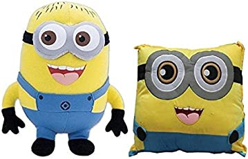 Bigshopee Kid's Combo of Minion Soft Toy and Pillow Stuffed Plus for Birthday gift, 18-inch -45cm (Yellow)
