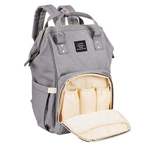 ße Kapazitäts-Mama-Reise-Windel-Tote-Handtasche Krankenpflege-Schulter-Organisator-Beutel mit isolierten Taschen Spaziergänger-Bügel für Baby-Sorgfalt (Grau) (Krankenpflege Tote Taschen)
