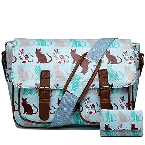 Miss Lulu Ladies Butterfly Polka Dots Cat Flower Oilcloth Messenger Satchel Cross Body School Bag Purse Wallet Set (Cat Blue Set)