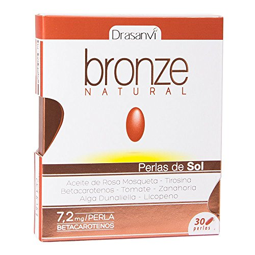 Natural Bronze 30 tanning softgels Drasanvi - Safe and Healthy Tan thanks to the Rosehip Oil, Beta Carotenes,L-Tyrosene, Lycopene and Lutein Test