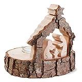 Holzkrippe - Krippe aus Holz mit Rinde Weihnachten + Figuren Teelichthalter. Von Haus der Herzen®