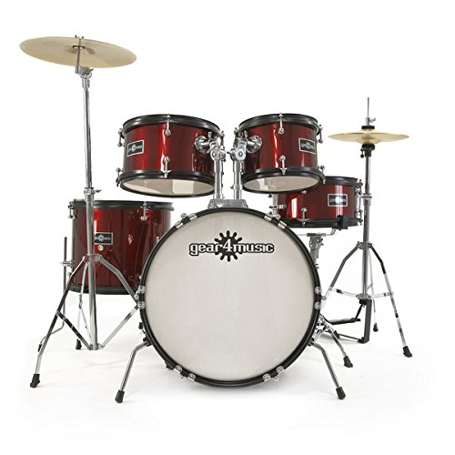4. Junior 5 Piece Drum Kit by Gear4music Wine Red