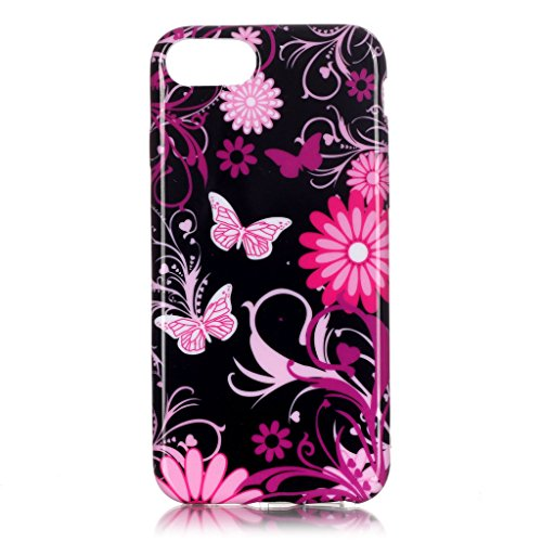 Coque Gel TPU Silicone pour Apple iPhone 7, Aohro Housse Etui Souple de Protection TPU Silicone Ultra Mince Back Cover Case, Smile Butterfly