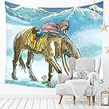 YINGBAOBAO Arazzo Personalizzato Stile Acquerello Cavalcata per Bambini Stampa Digitale Decorazione Murale d'Arte Tappetino Yoga Tessuto da Picnic Decorazioni per La Casa 100×150Cm
