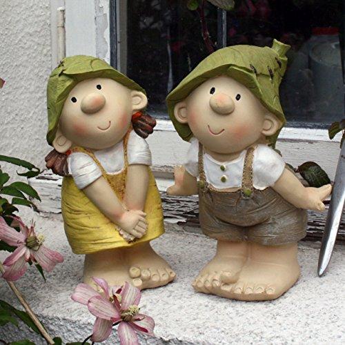 Lilly y carcasa Len de pie, adorno de jardín, gnomo, diseño de hada con Garden, Troll, pulsos