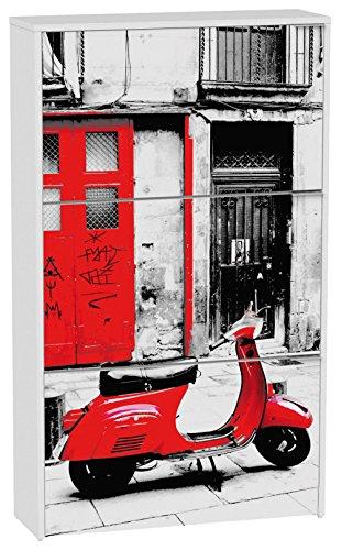 Commode à chaussures de 3 portes laqué blanc motif Vespa rouge, 750 x 242 x 1268 mm -PEGANE-