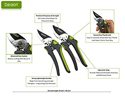 Davaon® Pro Geared Secateurs Set in Box - 20% Less Effort Anvil Bypass Garden Pruners - Razor Sharp Precise - Ergonomic Comfort - Lightweight But Strong - Long Lasting Gardening Pruning Tool
