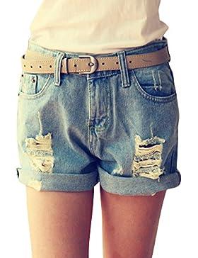 Quge Donne Pantaloncini Corti Vita Alta Hot Pants Strappata Denim Pantaloni Jeans