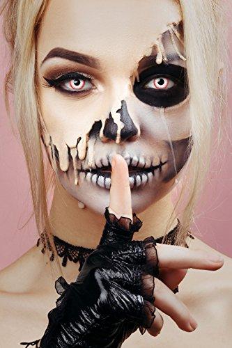 aricona Farblinsen – deckend weiß – farbige Kontaktlinsen ohne Stärke – Zombie Night Augenlinsen für Halloween, bunte 12 Monatslinsen - 3
