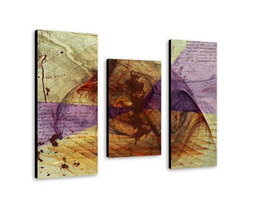 3 teiliges Wandbild xl auf Leinwand (abstrakt 95x70cm) Moderne Dekoration zum kleinen Preis! Bild bespannt auf echter Leinwand und Holzkeilrahmen. Made in Germany by Sinus Art