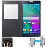 NETBOON® Royal Leather Sensor Window Flip Cover Case For Samsung Galaxy A7 (2015) - Black