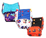 #9: Superbottoms Cloth Diapers - Superbottoms Plus Reusable AIO diaper with 2 Organic Cotton soakers and dry-feel [Day & Night Use] - PACK OF 3