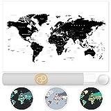 Weltkarte Wanddekoration - Landkarte Wandbild Design Motiv XXL Poster - Design Style World Map (120 x 80 cm) (schwarz-weiß)