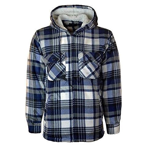 MyShoeStore® Unisex Padded Shirts Lumberjack Collared Hooded Flannel Check Jacket