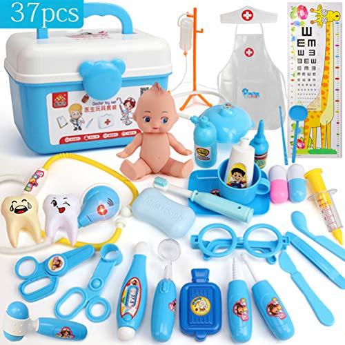 oktor Kit Spielzeug mit Tragetasche Zahnarzt Arzt Set Rollenspiel Spiel Kit Spielzeug Lernen Arzt Set Ressourcen Geschenk für Kinder(Blau) ()