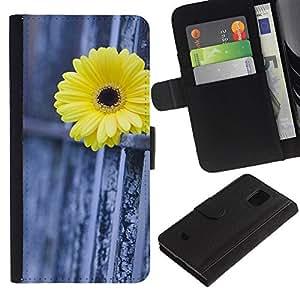 WINCASE (Non Per S5) Immagine Pelle Raccoglitore Carta Custodia Cover Guscio Case Protezione Per Samsung Galaxy S5 Mini, SM-G800 - recinzione margherita metafora significato profondo