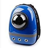 SRI High Quality Ventilated Outdoors Space Capsule Plastic Oxford Carriage Backpack For Cat Puppy (Blue)