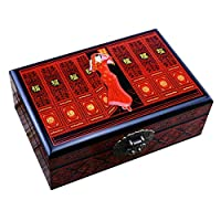 shengshiyujia Wooden Jewelry Box, Vintage Lock Jewelry Storage Box, Double-Layer Jewelry treasure box, 21cm*14cm*7.5cm,K,21cm*14cm
