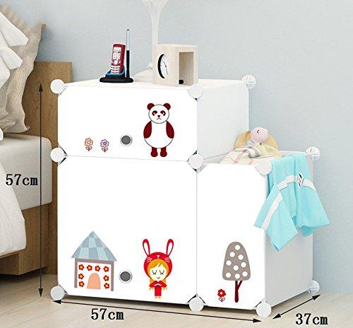 Flashing-DIY Casiers Simple Simple moderne Cabinet de chevet Avec Portes Avec Kegs, Multifonction Résine plastique ABS Chevet, Mini armoires de rangement avec des autocollants ( taille : 57*57*37cm )