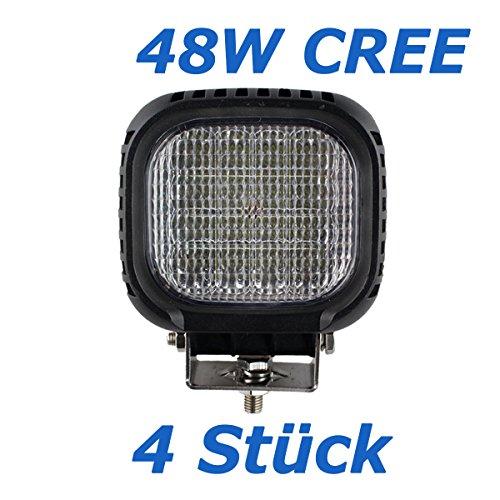BRIGHTUM 4 X 48W CREE LED Offroad Arbeitsscheinwerfer weiß 12V 24V Reflektor worklight Scheinwerfer Arbeitslicht SUV UTV ATV Arbeitslampe Traktor Bagger LKW KFZ (4 Stück) (4x4 Pickup-zubehör)