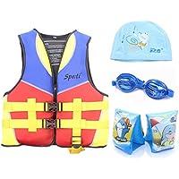 Genwiss Bambino vita Swim Giacca 3–8anni giallo includono nuotata fascia di braccio e Occhialini da nuoto e nuoto, Yellow, L