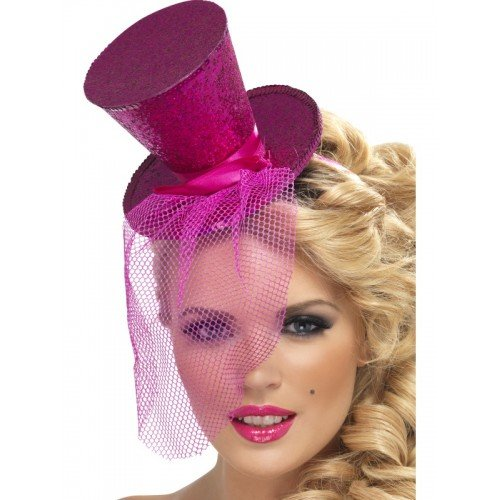 Red Silver Black Blue Green Purple Mini Top Hat with Veil (Pink) ()