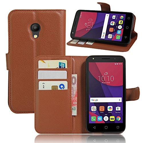 Tasche für Alcatel Pixi 4 (5.0 zoll) 5045X 4G Version Hülle, Ycloud PU Ledertasche Flip Cover Wallet Case Handyhülle mit Stand Function Credit Card Slots Bookstyle Purse Design braun
