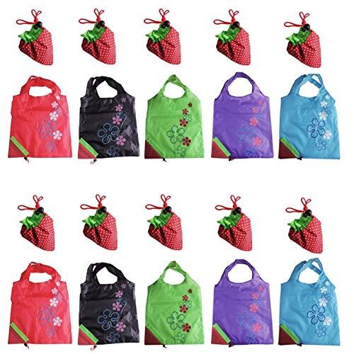 endbare Einkaufstaschen, Set von 10 Ripstop-Einkaufen-Beutel mit Beutel Große Recycle-Geschenk-Beutel (10 Stück / 5Colors) ()