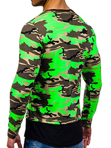 BOLF – Longsleeve – Manches longues – U-neck – Pullover – Camo – Military – Motif – Homme [1A1] Vert (Clair)