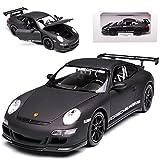 alles-meine GmbH Porsche 911 997 GT3 RS Matt Schwarz Porsche Museum 2004-2011 1/24 Welly Modell Auto mit individiuellem Wunschkennzeichen