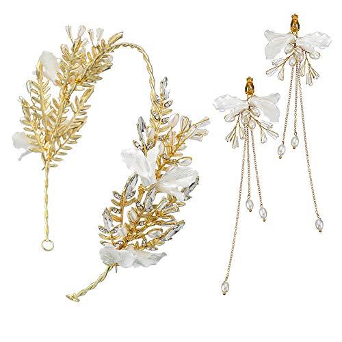 Xiton Makeup Zubehör 1Set Gold-Blatt-Perlen-Kronen-Ohrring-Satz-Braut Tiaras mit Blumen-Hochzeit Kronen-Perlen-Girlande Haarschmuck für die Braut und Brautjungfer (goldene) (Braut Tiara Satz)