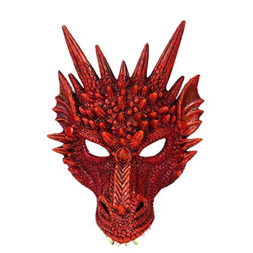 Tiermaske Halloween Maske Schwein Buffalo Drache Hexe Dame Tiger Kaninchen Halbmaske Halloween Karneval Halloween-Requisiten, Gruselmasken für Erwachsene, Halloween, Cosplay, Party, Dragon Red, (Sexy Dämon Drachen Kostüm)