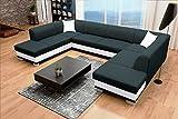 Sofa Couchgarnitur Couch Sofagarnitur DARCO als U Form mit Schlaffunktion, 2 Bettkästen mit komfortablem Federungssystem. Ottomane links oder rechts kostenlos wählbar (Inari 100 + Soft 017)