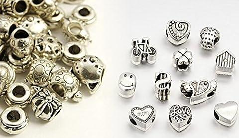 30 Unterschiedliche SchmuckPerlen Linayo® Tibetan Silber-Legierung. Hohe Qualität ModelleBeads Charms Set - ModelleBeads Charm. - (Handcrafted Perle)