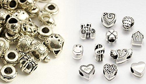 Linayo® - 30abalorios diferentes tibetanos de aleación de plata, abalorios de gran...