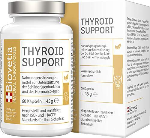 Biovetia Schilddrüse Support, mit Jod + Selen und L-Thyrosin zur Unterstützung der Schilddrüsenfunktion und deren Hormonspiegel + gesunder Stoffwechsel, 60 Kapseln