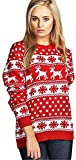 Women's Reindeer Snowflake Kids Xmas Mother Daughter Son Christmas 3-13 Year Jumper Top Size 8-26