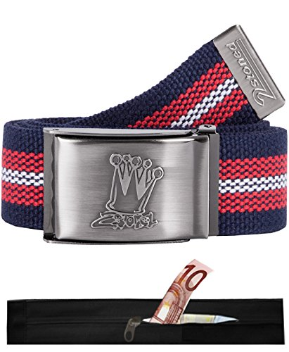 2Stoned Tresor-Gürtel Geldgürtel Navy-Rot-Weiß 4 cm breit, Matte Schnalle Crown, für Damen und Herren - Cotton Web Belt