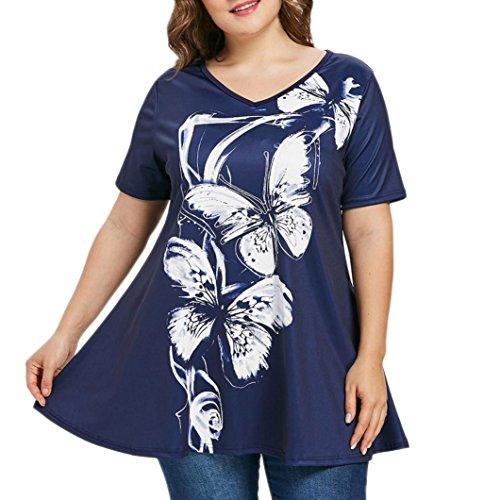 Yvelands Fashion Damen Sommer Plus Size Kurzarm Butterfly Print T-Shirt V-Ausschnitt Tops Bluse (Butterfly Tank Shirt Top)