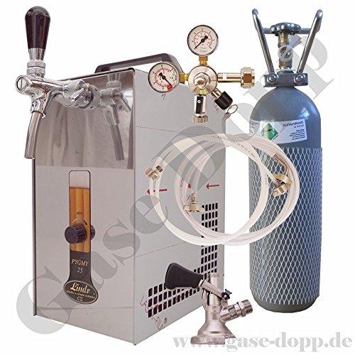 Durchlaufkühler komplett Set - Durchlaufkühler 25l/min + 2 kg CO2 Flasche + Druckminderer 1 leitig 3 Bar + Bier und CO2 Schläuche je 1,5 m + Flach Keg - von Gase Dopp