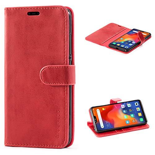 Mulbess Handyhülle für Xiaomi Mi 8 Lite Hülle, Leder Flip Case Schutzhülle für Xiaomi Mi 8 Lite Tasche, Wein Rot